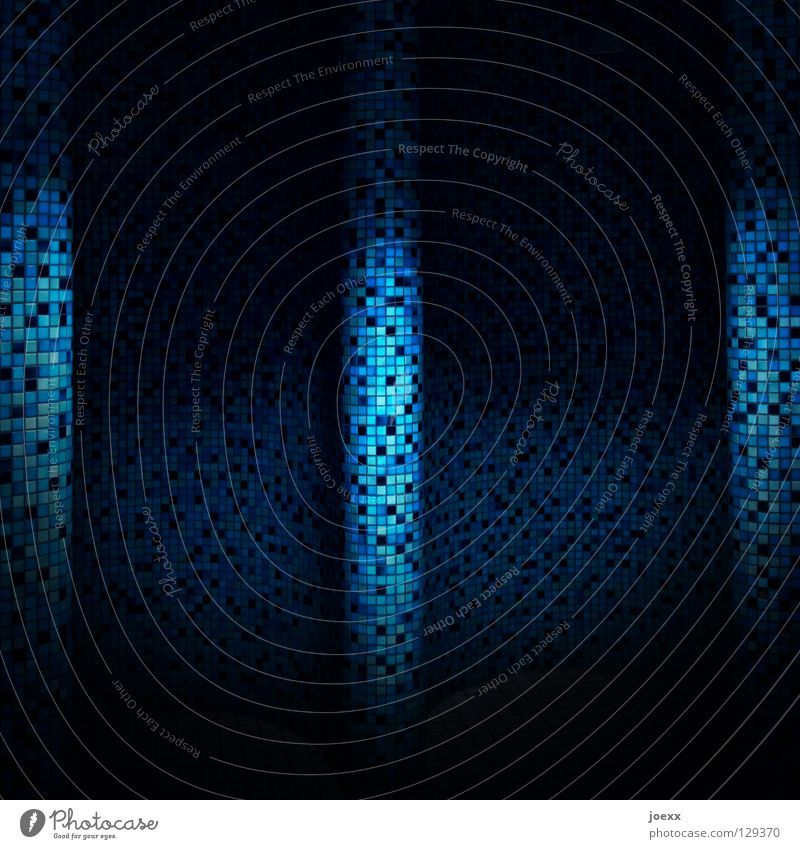 Blue Dark Wall (building) Bathroom Floor covering Mysterious Tile Hide Curve Drape Swing Mosaic Curved Light blue Light and shadow