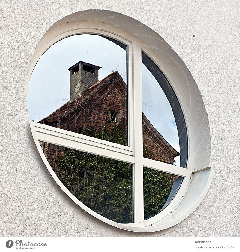 The square has to go into the round Round Sharp-edged Window Rose window Reflection House (Residential Structure) House wall White Ivy Facade Mirror Detail