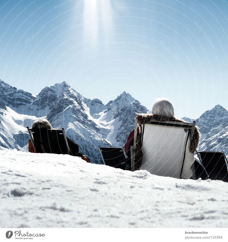 hungry for the sun Winter Winter vacation Break Mountain range Cold Sunbathing Switzerland Vacation & Travel To enjoy Canton Graubünden Midday Deckchair Rest