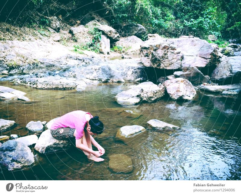 Girl at the River Well-being Relaxation Calm Vacation & Travel Trip Feminine Woman Adults 1 Human being 30 - 45 years Nature Water Virgin forest River bank