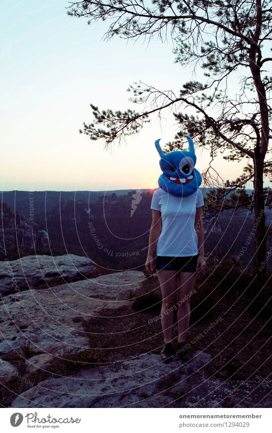 Blue Joy Funny Exceptional Art Rock Stand Esthetic Crazy Creativity Trip T-shirt Mask Motionless Work of art Monster