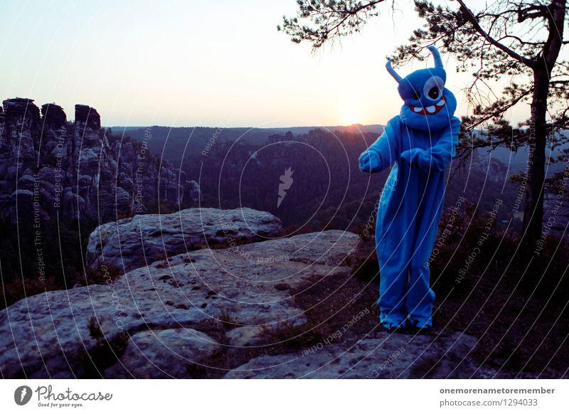 little dance Art Work of art Adventure Esthetic Monster Extraterrestrial being Monstrous Ogre Blue Disguised Costume Carnival costume Mask Dance Dance event Joy