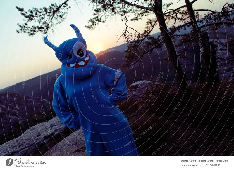 Blue Joy Art Stand Esthetic Wait Adventure Mask Carnival Work of art Carnival costume Monster Comical Funster Extraterrestrial being