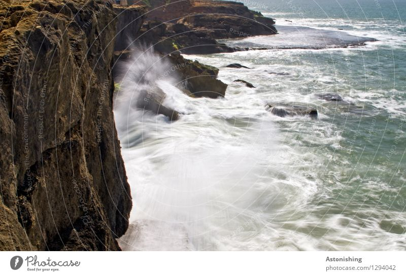 Nature Water White Ocean Landscape Black Travel photography Environment Coast Wall (barrier) Stone Brown Rock Power Waves Wind