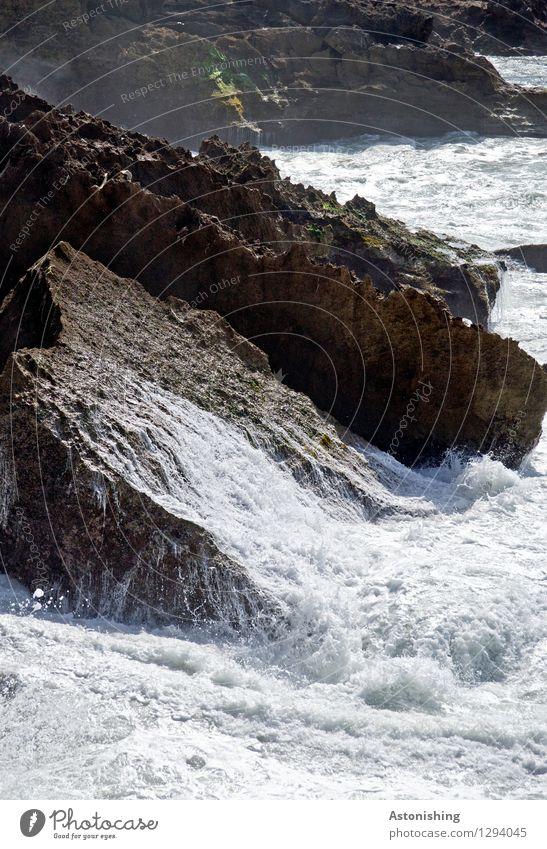 Nature Summer Water White Ocean Landscape Dark Black Travel photography Environment Coast Stone Brown Bright Rock Power
