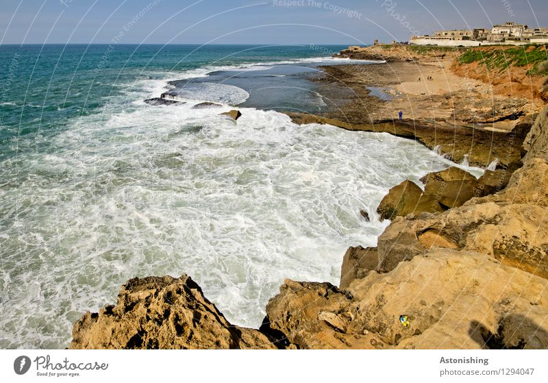 the Atlantic meets Morocco I Environment Nature Landscape Plant Sand Water Sky Horizon Summer Weather Beautiful weather Rock Waves Coast Ocean Atlantic Ocean