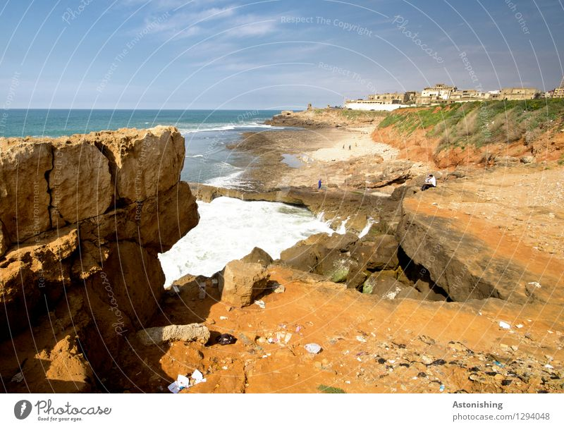 the Atlantic meets Morocco II Environment Nature Landscape Plant Sand Water Sky Horizon Summer Weather Beautiful weather Grass Rock Waves Coast Ocean