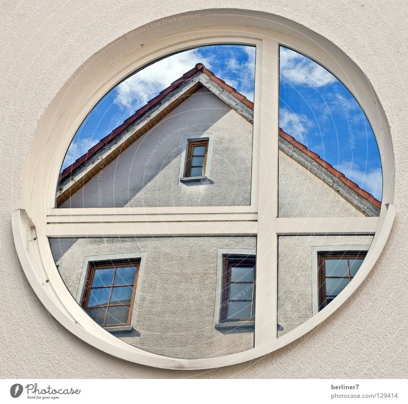 The square must enter the round / 2 Round Sharp-edged Window Rose window Wall (building) House (Residential Structure) Roof Gable Clouds White Mirror Reflection