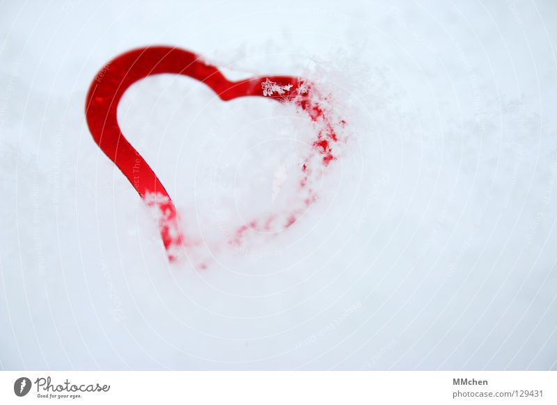 White Red Winter Love Cold Snow Ice Heart Hide Past Crystal structure Packaged Symbols and metaphors Heartless Freeze to death