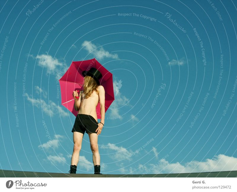 Human being Sky Man Youth (Young adults) Beautiful Clouds Black Eroticism Line Body Blonde Pink Young man Perspective Posture Umbrella