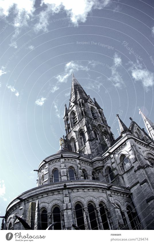 sky-high Gothic period Neogothic Religion and faith Prayer Vertical Threat Dark House of worship Catholicism Cathedral Sky Stone Old Tall Tower Bell tower Level