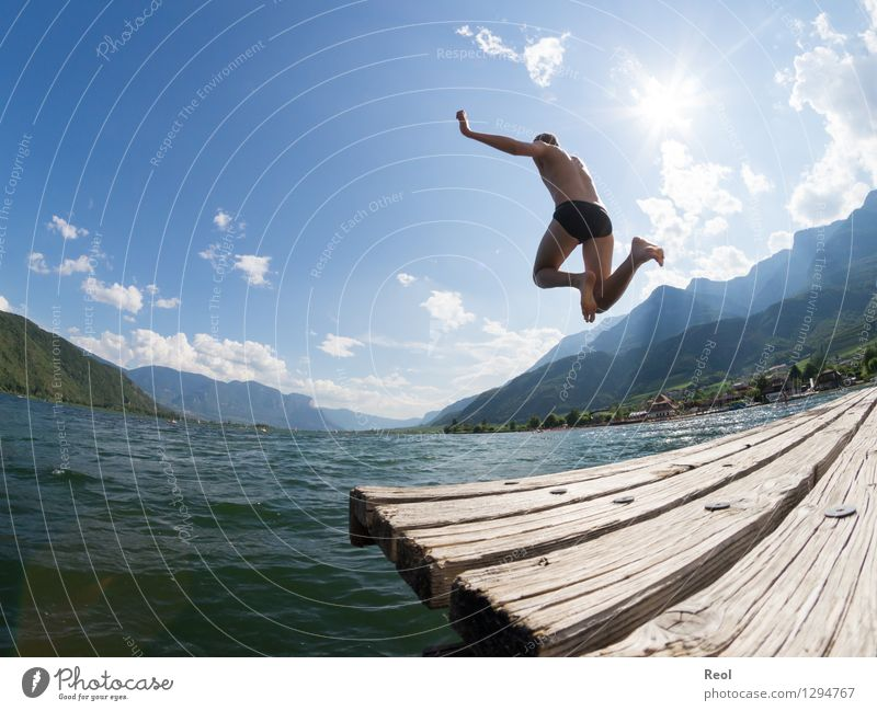 Human being Vacation & Travel Youth (Young adults) Summer Water Sun Relaxation Young man Landscape Joy Far-off places Exceptional Swimming & Bathing Lake Jump Masculine