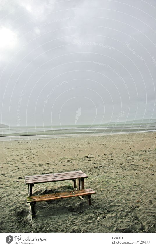 Ocean Winter Beach Nutrition Loneliness Far-off places Dark Cold Sand Brown Coast Wait Fog Wet Table Empty