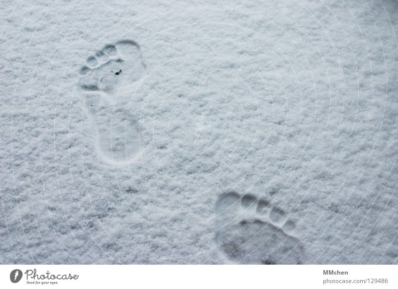 Where are you going, man? Footprint Barefoot Cold Freeze Extract Forwards March Hiking Pursue Winter White Shoot Impression Animal tracks In transit Poverty