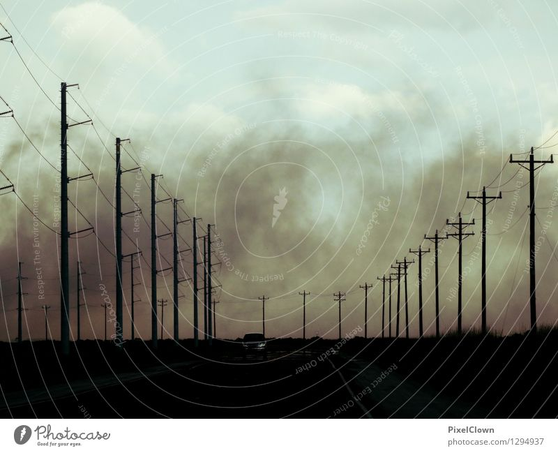 Fog of horror Lifestyle Style Design Vacation & Travel Adventure Freedom Landscape Clouds Storm clouds Transport Traffic infrastructure Motoring Street