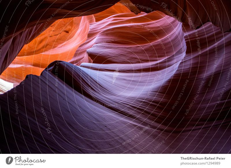 antelope Environment Nature Landscape Famousness Blue Brown Yellow Gray Orange White Antelope Canyon Rock Rock formation Beautiful Sandstone Navajo Reservation