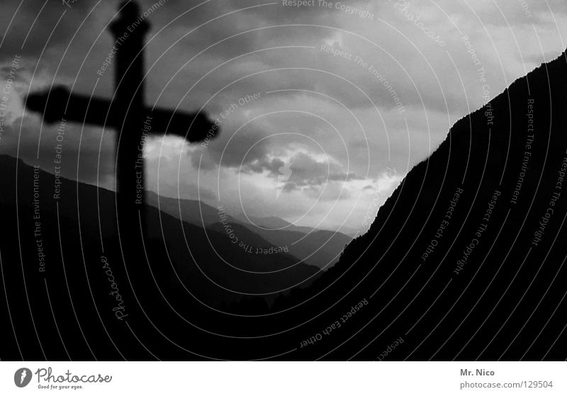 Sky Calm Clouds Dark Death Mountain Sadness Moody Back Grief Peace Christian cross Transience Hill Creepy Derelict