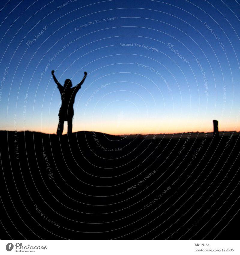 Human being Man Blue Joy Far-off places Mountain Movement Orange Arm Contentment Success Stand Stripe Hill Dusk Gesture