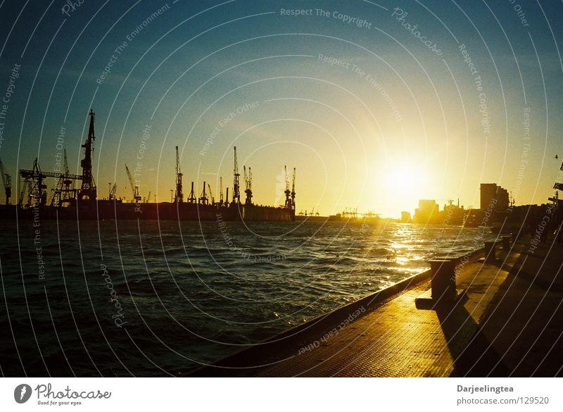 Water Sky Vacation & Travel Hamburg Romance Harbour Radiation Jetty Navigation Crane Dock Bollard Shipyard