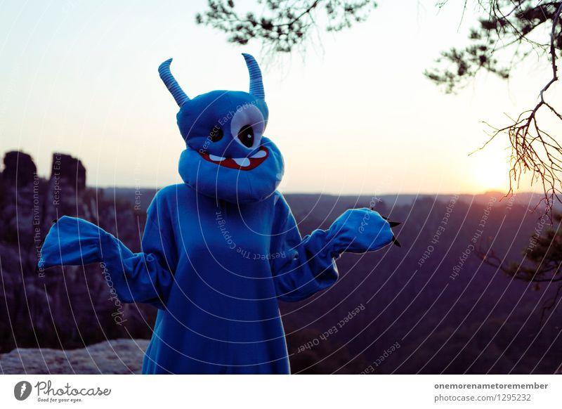 Nature Blue Art Rock Esthetic Future Fear of the future Ask Orientation Work of art Costume Carnival costume Daub Monster Innocent Lost