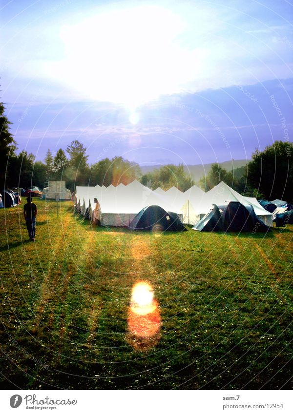 Sun above the tents Tent Camping Meadow Transport Nature