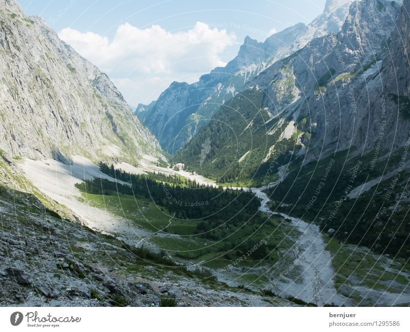 Reintal Sports Mountaineering Hiking Nature Landscape Plant Air Clouds Summer Beautiful weather Tree Alps Peak Going Gray Green Wanderlust Environment