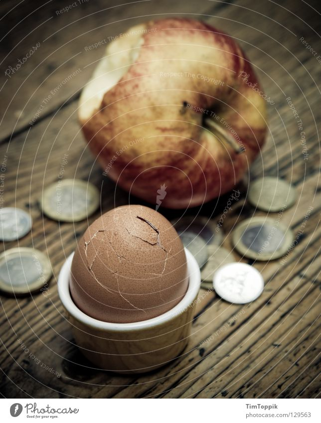 Wood Nutrition Poverty Table Money Simple Apple Breakfast Egg Still Life Crack & Rip & Tear Fruit Paying Euro Bite Coin