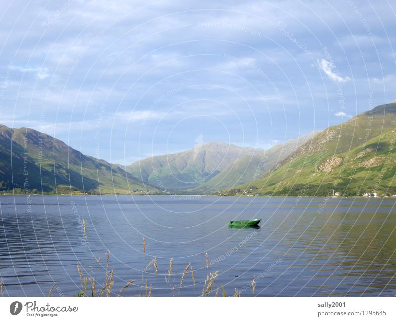 resting place... Nature Clouds Summer Grass Hill Mountain Lakeside Loch Duich Scotland Great Britain Dinghy Rowboat Small Natural Adventure Loneliness