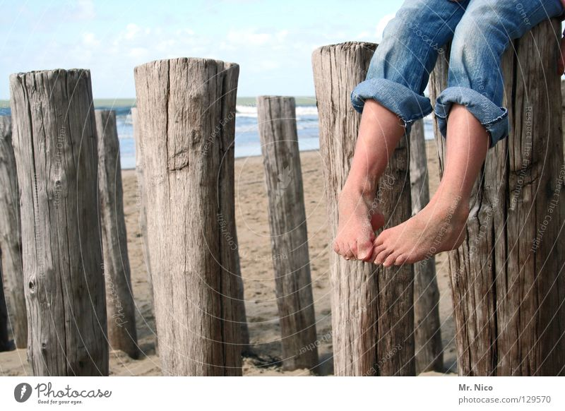Human being Sky Vacation & Travel Ocean Summer Beach Joy Clouds Relaxation Wood Sand Lake Legs Feet Line Leisure and hobbies