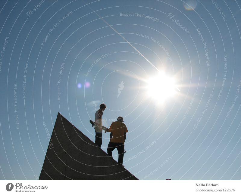 Human being Sun Joy Leisure and hobbies Point Skateboarding Blue sky Ramp Sports