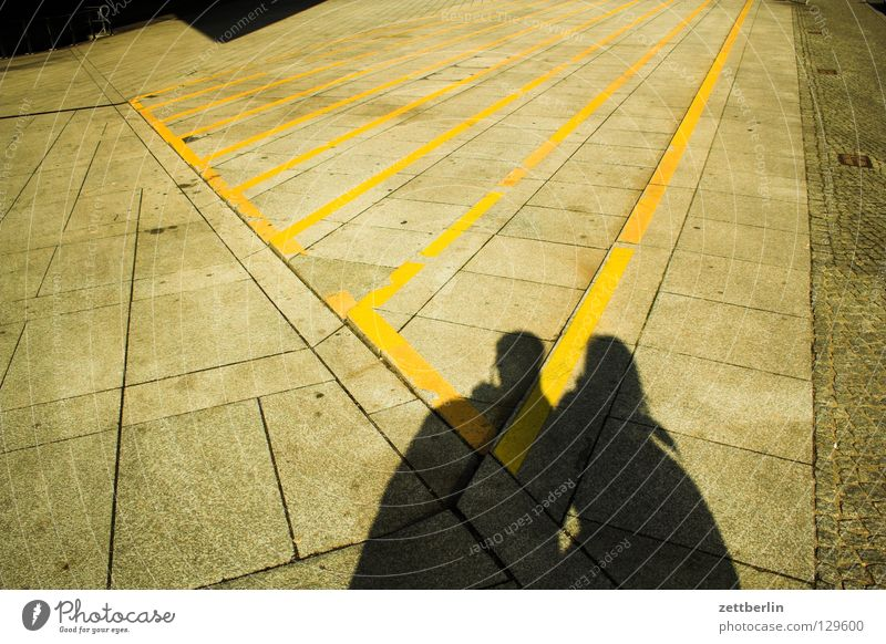 pair of shadows Stripe Colour Guide Central perspective Vanishing point Places Neue Mitte Woman Man Relationship Friendship Matrimony Couple 2 Harmonious