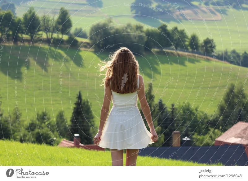 The sun laughs at me Feminine Young woman Youth (Young adults) 1 Human being 13 - 18 years Landscape Meadow Field Dress Blonde Long-haired Curl Breathe Observe