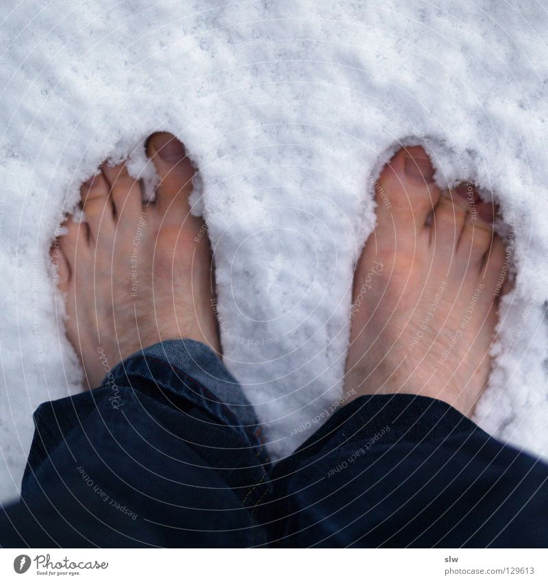 Human being Man Winter Loneliness Cold Snow Hair and hairstyles Feet 2 Jeans Boredom Barefoot Toes 10