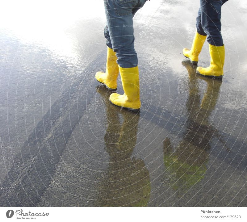 Two = four* Rubber boots Yellow Asphalt Tar Reflection 2 4 Pants Boots Man Construction site Construction worker Hiking Walk along the tideland Wet Cold Winter