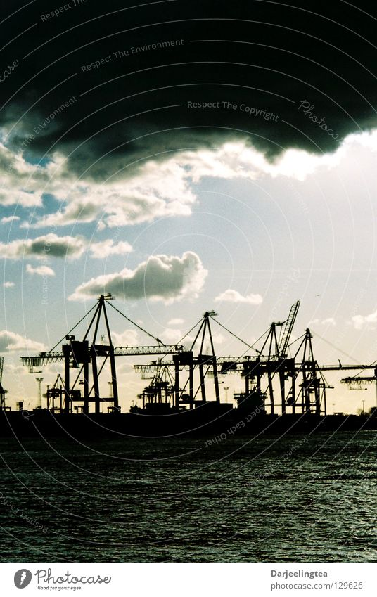 at the port Crane Dock Clouds Harbour Sky Industry Hamburg Water Contrast