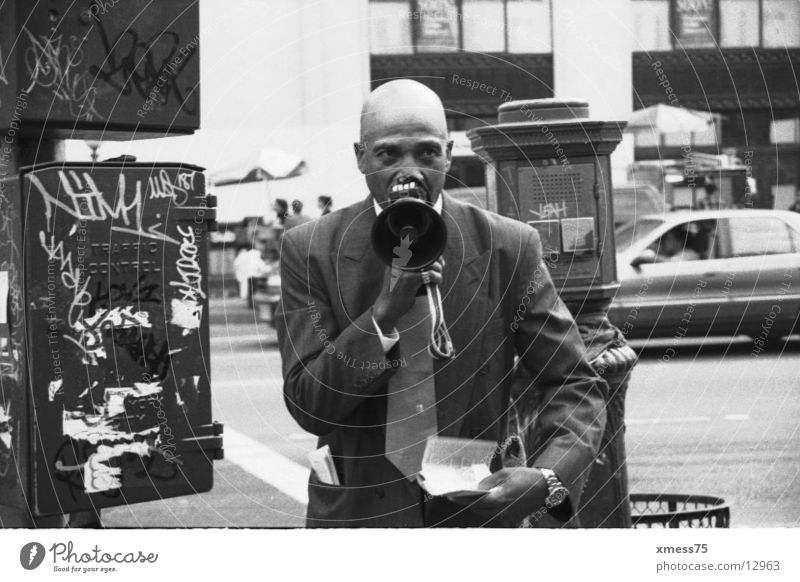 bawler Megaphone Bald or shaved head New York Sect New York City Shows Black & white photo Communicate Anger Aggravation prayer