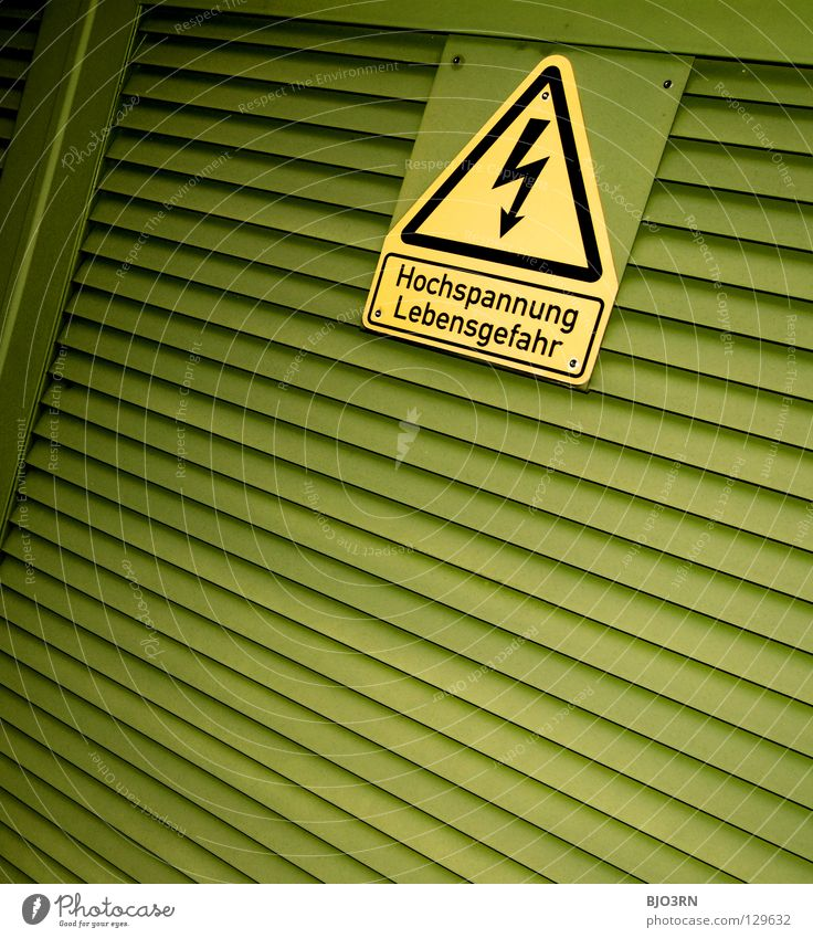 Green Yellow Signs and labeling Energy industry Electricity Dangerous Threat Lightning Square Signage Symbols and metaphors Warning label Graphic Caution