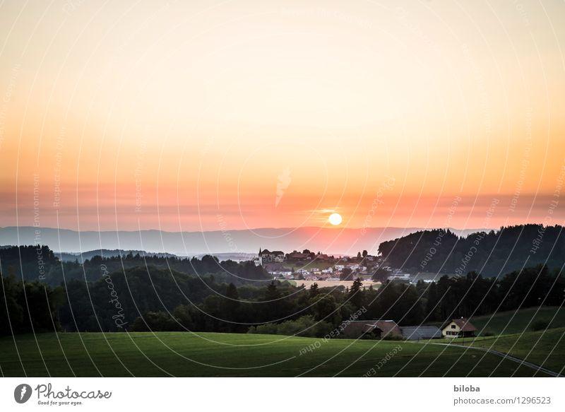 At the end of a long day. Sky Horizon Sunrise Sunset Sunlight Summer Autumn Forest Hill Village Emotions Moody Serene Calm Hope Wanderlust Schwarzenburg