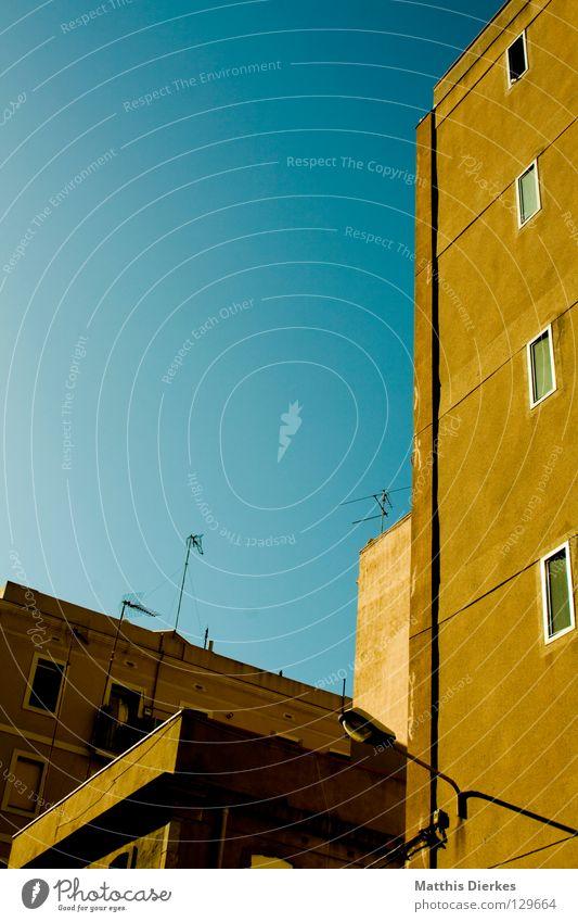 Barceloneta Barcelona Spain Derelict Backyard Window Glazed facade Facade Antenna Television TV set Prefab construction Corner Alley Sidestreet Yellow Green