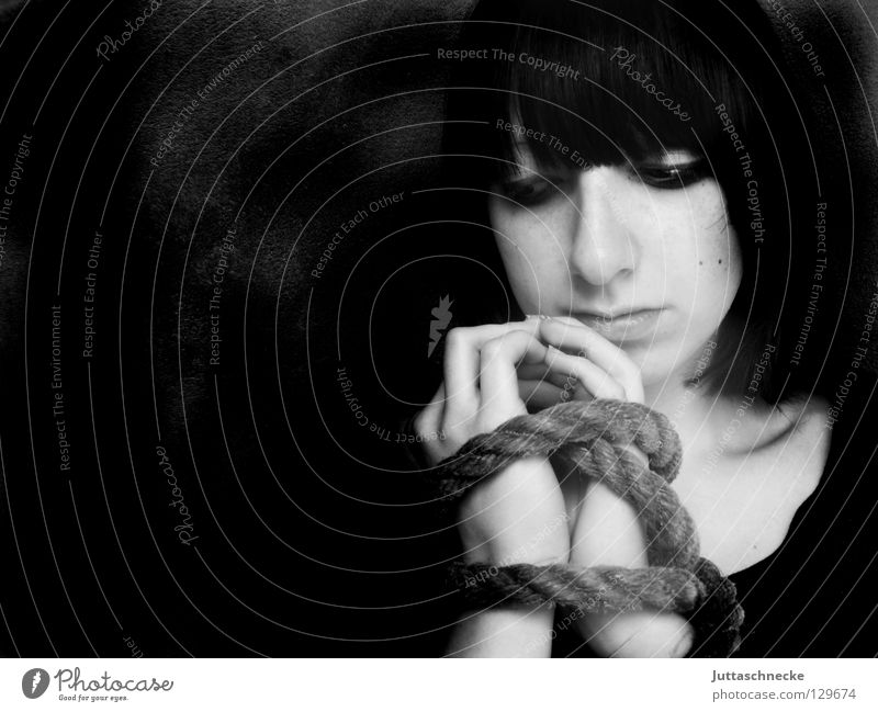 Woman White Black Sadness Think Rope Free Grief Might Distress Thought Captured Penitentiary Handcuff Joint Bound