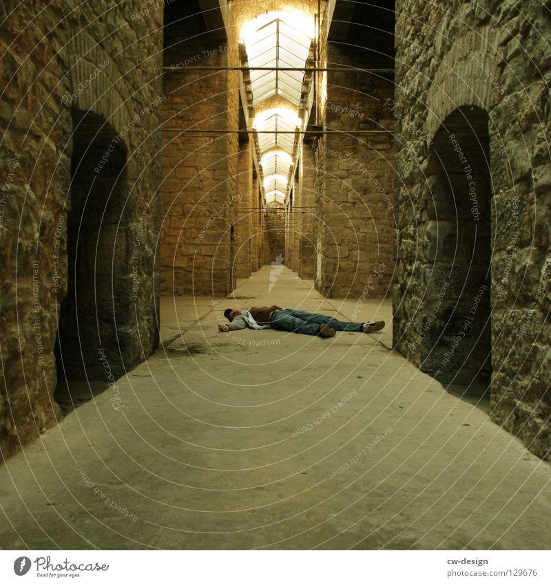 Man Death Lie Historic Motionless Masonry Arcade Skylight Vanishing point Stone wall Building line Historic Buildings