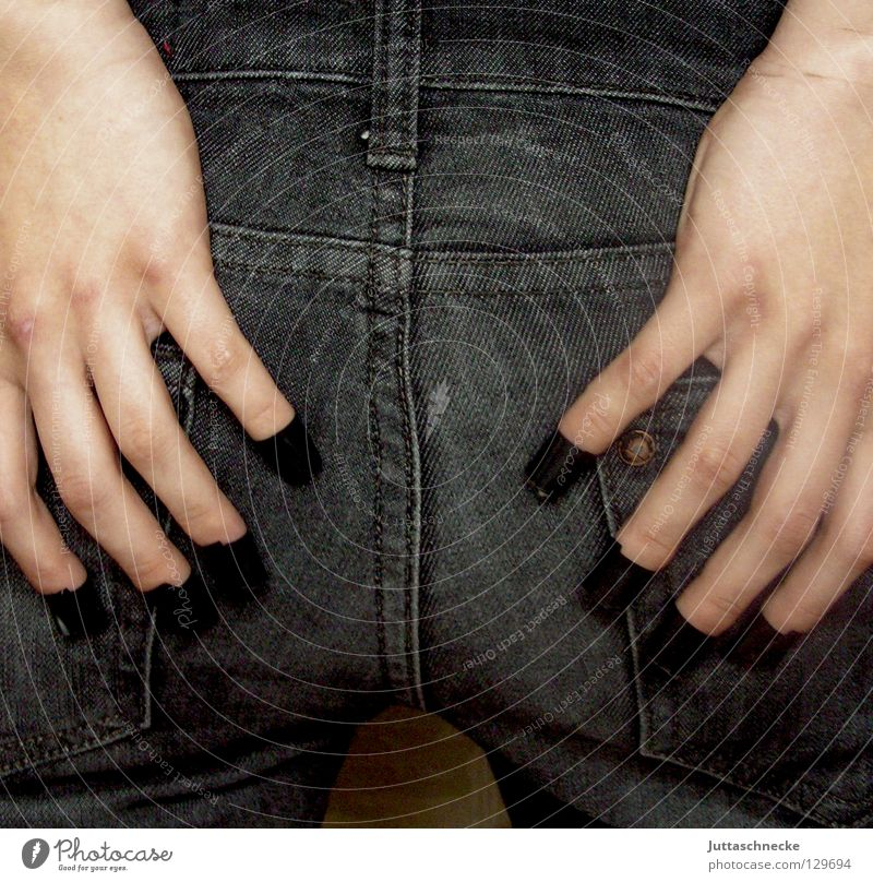 The seam sits Hand Fingers Adhesive tape Stitching Black Woman Narrow Be suitable Sit Hind quarters Clothing Quality jean Jeans Backwards fit insulating tape