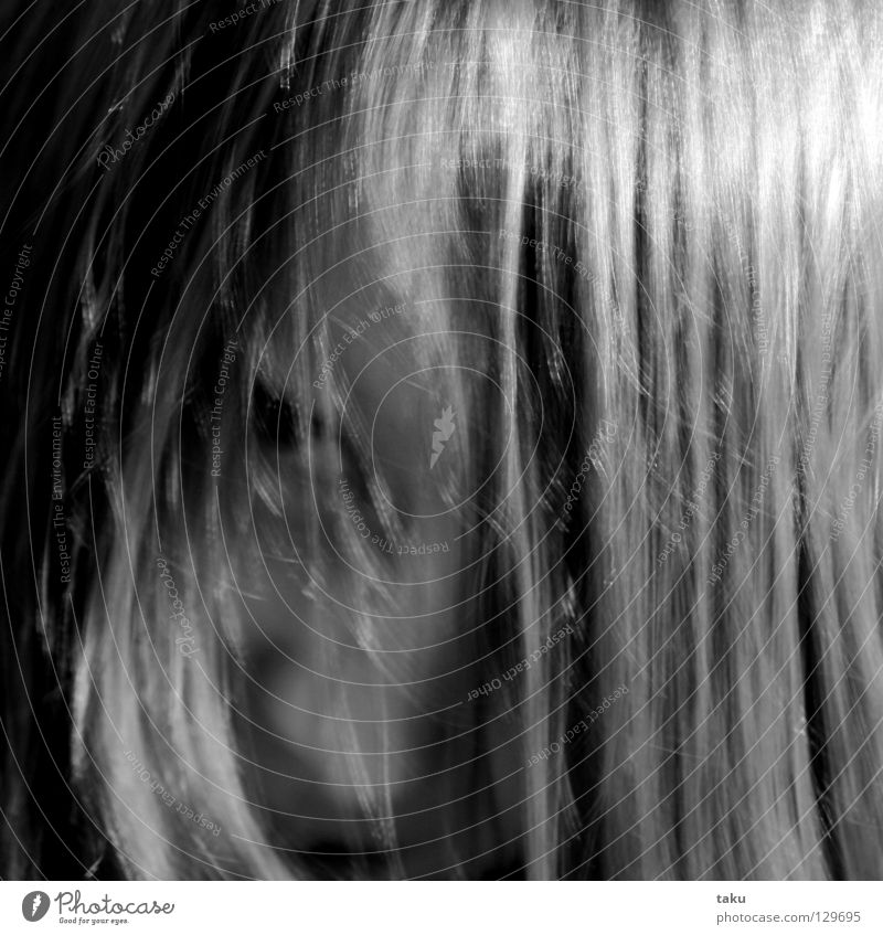 LALLA I Strand of hair Playing Room Blur Gritty lalla Black & white photo Hair and hairstyles Face Nose Mouth Ear Joy Evening Attempt natanael