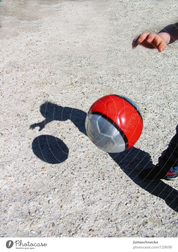 shadow play Red Shadow play Playing Child Concrete Silhouette Asphalt Sports Skillful Dribble Be suitable Joy Ball Soccer Basketball Silver Juttas snail Happy