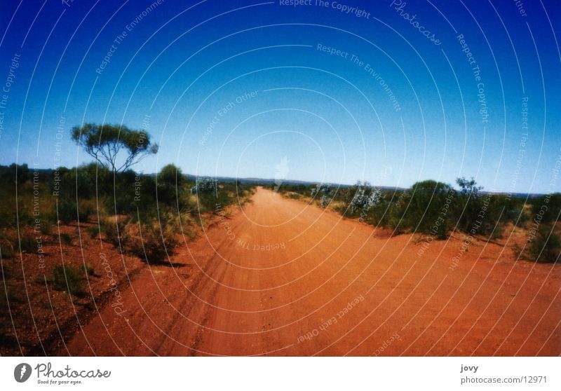 road into nothing Outback Australia Impassable Horizon Transport Street Sand Blue Desert Ski run Line Escape