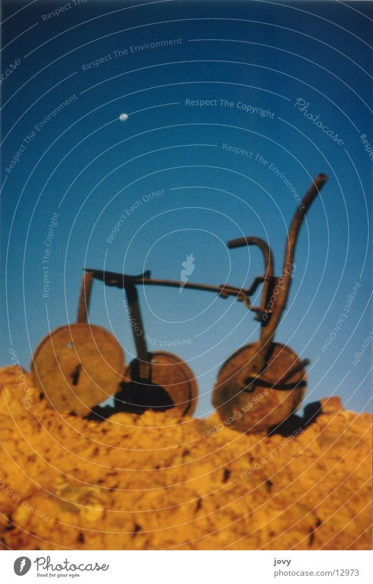 child's dream Tricycle Rust Obscure Moon Surrealism Blue