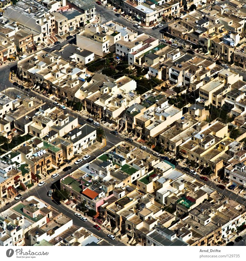 City Aerial photograph House (Residential Structure) Street Car Small Europe Airplane landing Malta Valetta