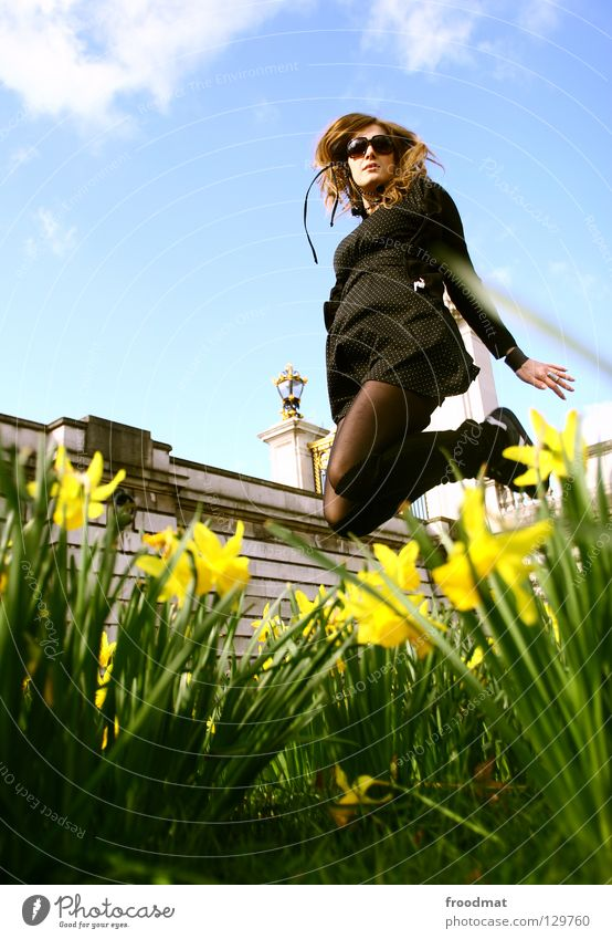 Woman Sky Nature Youth (Young adults) Beautiful Green Summer Sun Relaxation Flower Clouds Joy Warmth Life Meadow Grass
