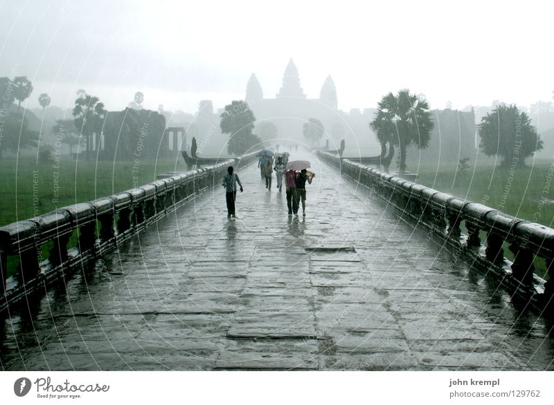 through the monsoon Angkor Wat Cambodia Temple Holy Ruin Virgin forest Khmer people Clouds Bad weather Monsoon Unload Rain Flee Wet Landmark Monument Asia
