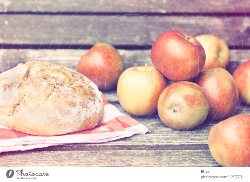 picnic Food Fruit Apple Dough Baked goods Picnic Organic produce Vegetarian diet Idyll Nature Autumn Autumnal Vintage Delicious Fresh Wood Bread Biological